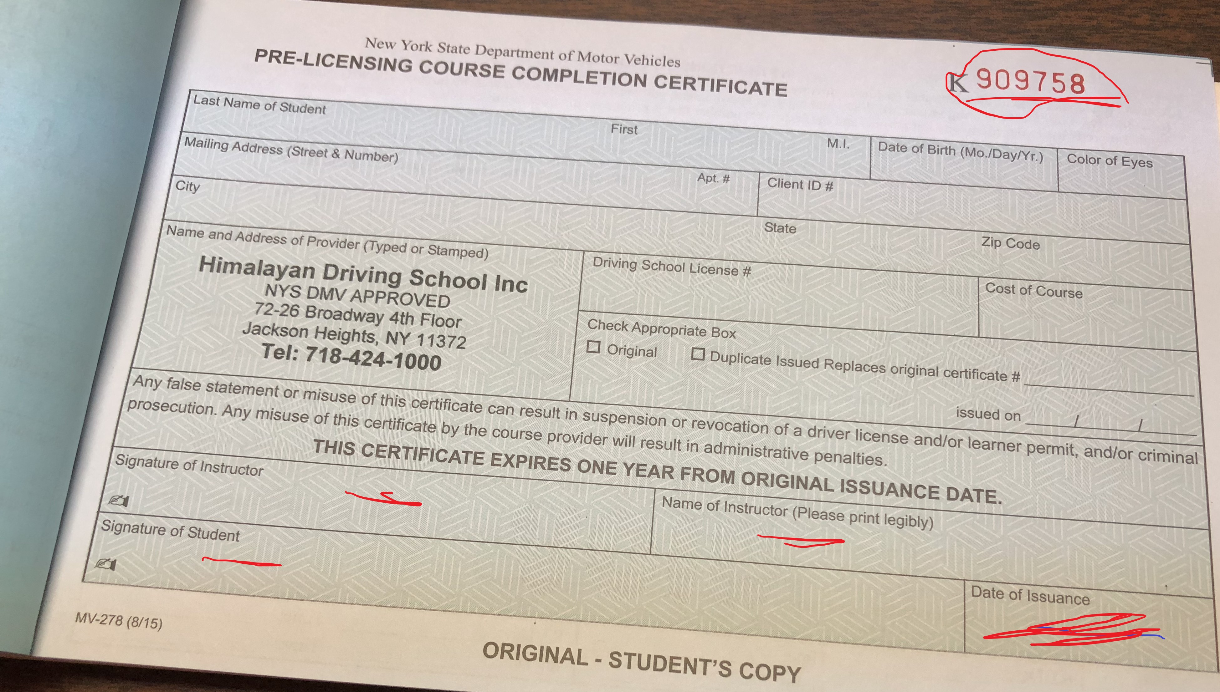 do drivers ed certificates expire in texas